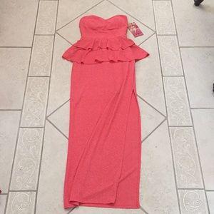 Coral Shimmery Emerald Sundae peplum long dress